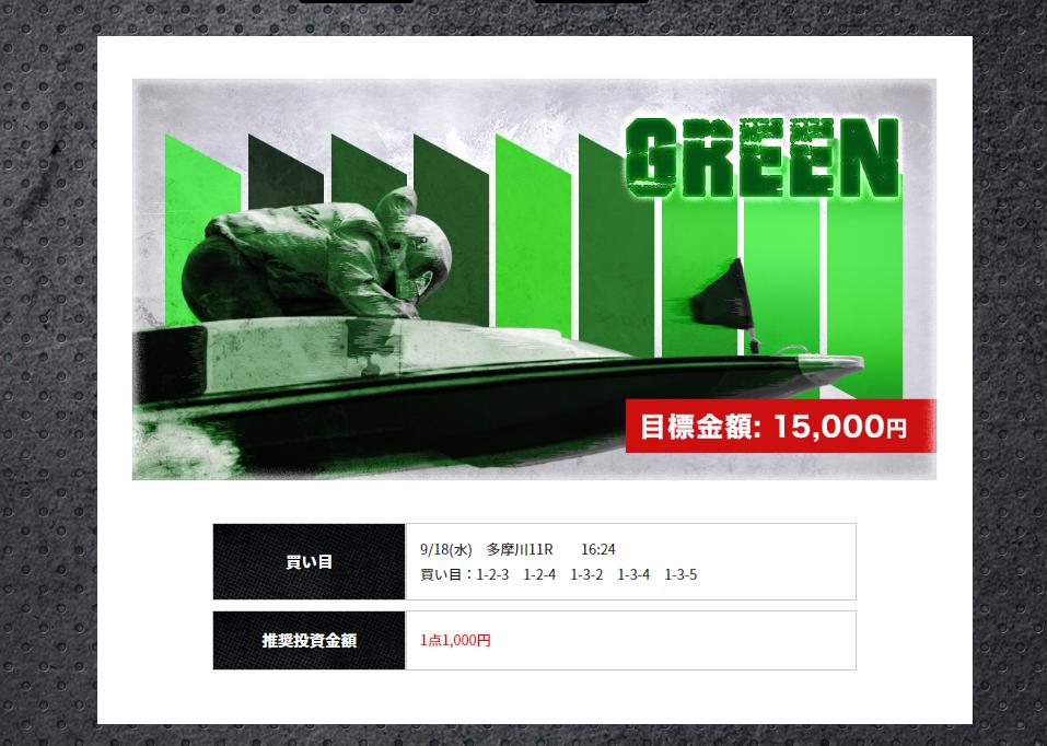 競艇ライナーという優良競艇予想サイトの無料プラン「GREEN」の買い目 ライナー 競艇 口コミ