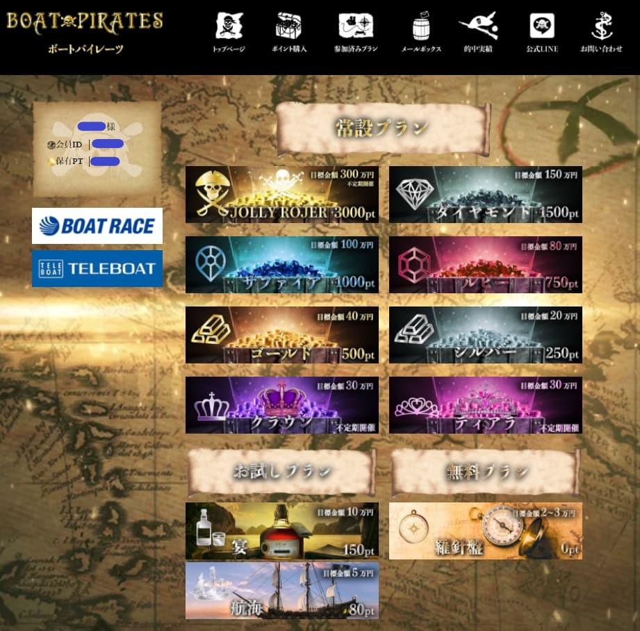 競艇予想サイト ボートパイレーツ(BOATPIRATES)の登録後のマイページ -口コミ・的中・評判・稼げる・当たらない・詐欺-